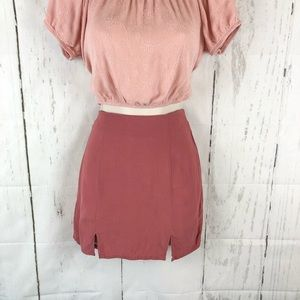 F21 pink front slit mini skirt